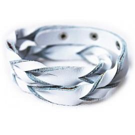 Кожаный оригинальный премиум браслет Лиана белый