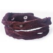 Кожаный оригинальный премиум браслет Лиана замшевый коричневый