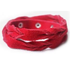 Кожаный оригинальный премиум браслет Лиана замшевый красный
