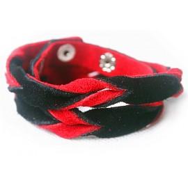 Кожаный оригинальный премиум браслет Лиана красный с черным замшевый