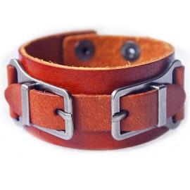 Кожаный широкий премиум браслет Портленд коричневый