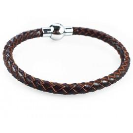 Кожаный плетеный премиум браслет на магнитной защелке Сфера коричневый