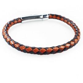 Кожаный плетеный премиум браслет Змейка на магнитной защелке коричневый с черным