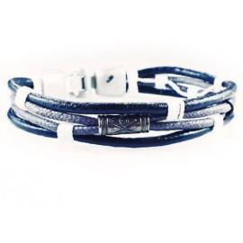 Кожаный плетеный премиум браслет Лара Крофт черный с белым