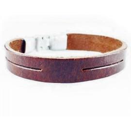 Кожаный оригинальный премиум браслет Итака коричневый