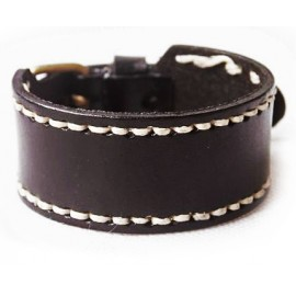 Кожаный широкий премиум браслет Альянс черный