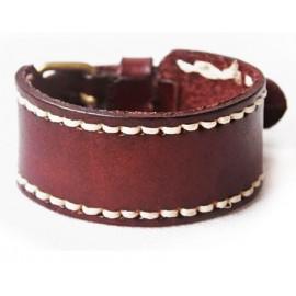 Кожаный широкий премиум браслет Альянс коричневый