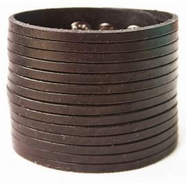 Кожаный широкий премиум браслет Пирамида 6 см темно-коричневый
