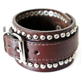 Кожаный широкий премиум браслет Игры Разума коричневый