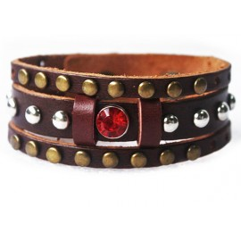 Кожаный широкий премиум браслет Красный Кристал
