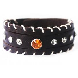 Кожаный широкий премиум браслет Оранжевый Кристал