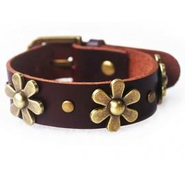 Кожаный оригинальный премиум браслет Цветы