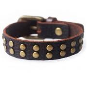 Кожаный оригинальный премиум браслет Локи коричневый