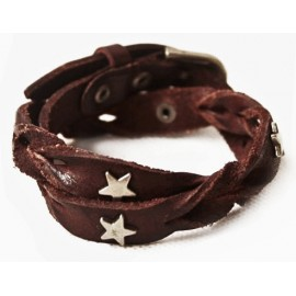 Кожаный оригинальный премиум браслет Лиана со звездами коричневый