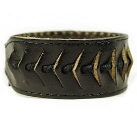 Кожаный широкий премиум браслет Катамаран