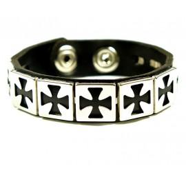Кожаный оригинальный премиум браслет Крест Рыцарского Ордена Тамплиеров