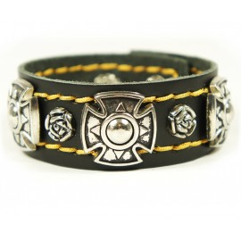 Кожаный широкий премиум браслет Энигма Enigma черный