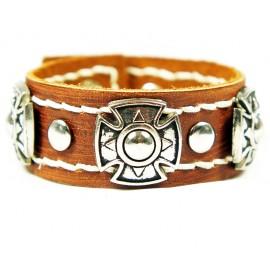 Кожаный широкий премиум браслет Энигма Enigma коричневый