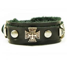 Кожаный широкий премиум браслет Рыцарский Орден