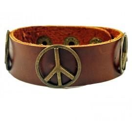 Кожаный широкий премиум браслет Мир Peace