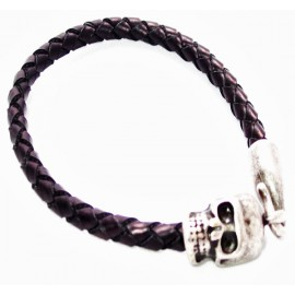Кожаный плетеный премиум браслет с застежкой Череп