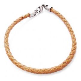 Кожаный плетеный премиум браслет Софи бежевый