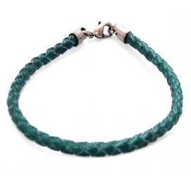Кожаный плетеный премиум браслет Софи зеленый