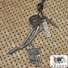 Кулон из металла на кожаном шнурке Сова