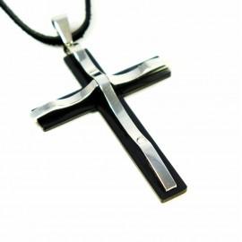 Кулон из металла на кожаном шнурке Латинский Крест