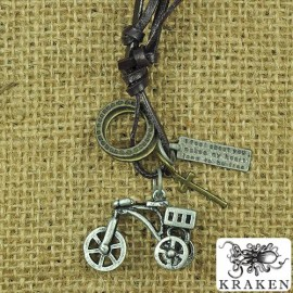 Кулон из металла на кожаном шнурке Винтажный Велосипед