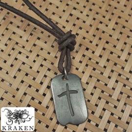 Кулон из металла на кожаном шнурке Средневековый Крест