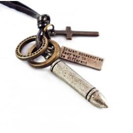Кулон из металла на кожаном шнурке Шальная Пуля
