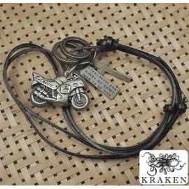 Кулон из металла на кожаном шнурке Мотоцикл Спортбайк