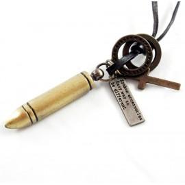 Кулон из металла на кожаном шнурке Бронзовая Пуля
