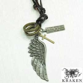 Кулон из металла на кожаном шнурке Крыло Ангела