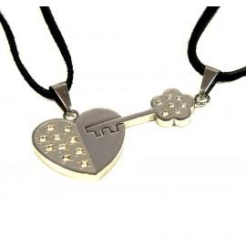 Парные кулоны из нержавеющей стали на кожаном шнурке Ключ от Сердца