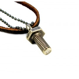 Кулон из металла на кожаном шнурке Железный Болт