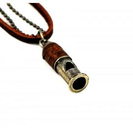 Кулон из металла на кожаном шнурке Свисток из Пули
