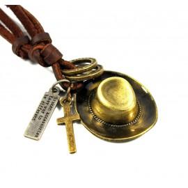 Кулон из металла на кожаном шнурке Шляпа Ковбоя