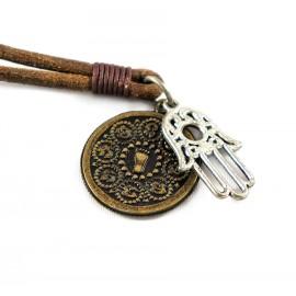 Кулон из металла на кожаном шнурке Хамса - Рука Фатимы