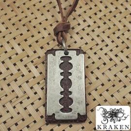 Кулон из металла на кожаном шнурке Лезвие