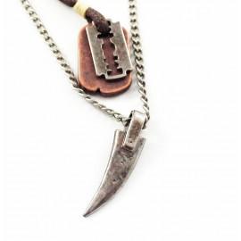 Кулон из металла на кожаном шнурке Лезвие и Клык