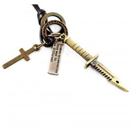 Кулон из металла на кожаном шнурке Охотничий Нож