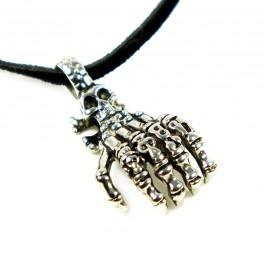 Кулон из металла на кожаном шнурке Рука Смерти