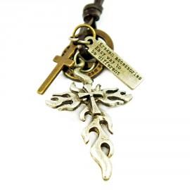 Кулон из металла на кожаном шнурке Огненный Крест