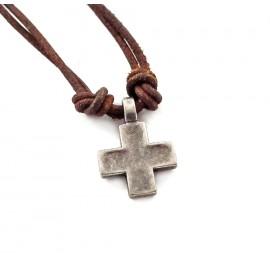 Кулон из металла на кожаном шнурке Греческий Крест