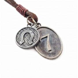 Кулон из металла на кожаном шнурке Удача и Везение