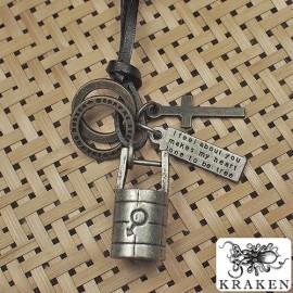 Кулон из металла на кожаном шнурке Колодец Любви