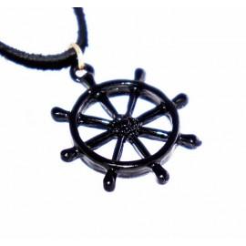 Кулон на кожаном шнурке Штурвал - украшение на шею