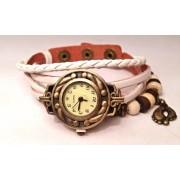 Женские винтажные часы кожаный браслет с часами Ретро белый